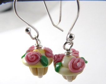 Pair of Adorable Mini Rose Topped Cupcake Earrings