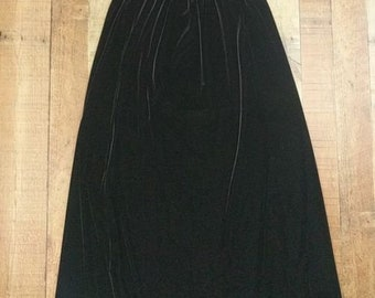 Bentley Black Velour Maxi Skirt Elastic Waist Solid Sz M