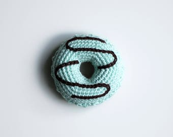 Crocheted donut amigurumi toy crocheted food play food pretend play kids gift kids room decor crocheted toy handmade toy blue