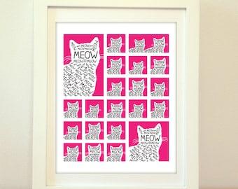 Cat Print, Cat Poster, Cat, Cat Art, Meow, Meow Poster, Kitten, Kittens, Kitten Art, Kitten Poster, Cat Wall Art, Cat Sign, Meow Sign