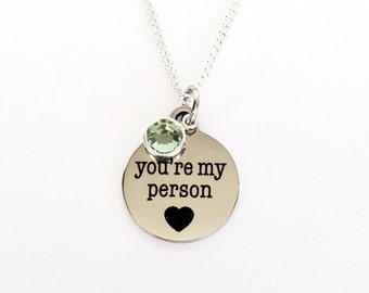 Grey's Anatomy, Youre My Person, Youre My Person Necklace, Anniversary Gift for Girlfriend, Wife Gift, Girlfriend Gift, Best Friend Gift
