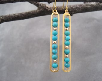 Turquoise Earrings - Long Rectangle Drops - Gold Rectangle Earrings - Stepped Turquoise and Gold Modern Geometric Design - Asymmetrical