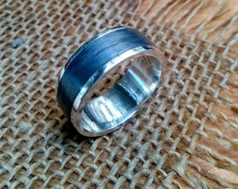 Grey Metal Sterling  Ring Band.  2 mm X 10 mm Thick and Wide.