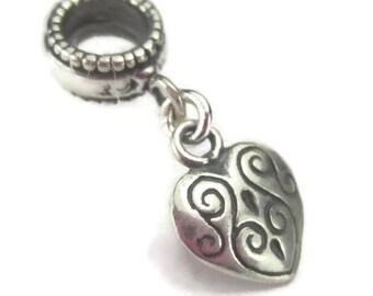 Heart Bracelet Charm Sterling Silver European Dangle Bead Locket Style Wife Anniversary