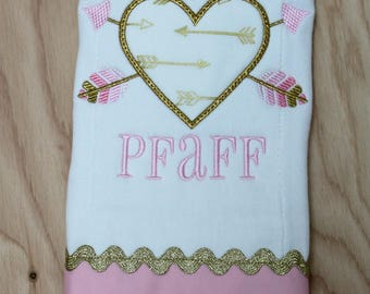 Personalized Burp Cloth - Baby Girl Personalized Burp Cloth - Monogrammed Burp Cloth - Gold Heart Burp Cloth - Baby Shower Gift
