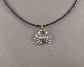 Crab Pendant on Black Leather Necklace