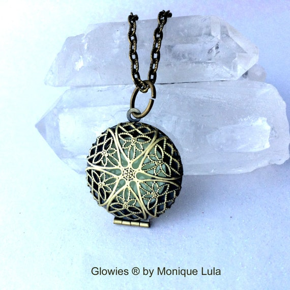 Steampunk Fairy Glow in the Dark Locket Brass Aqua