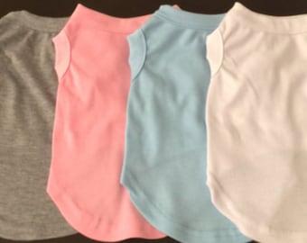 Blue Dog Shirt, Pink Dog Shirt, Basic Dog Tee, Shirt for Dogs, Handmade Dog Shirt