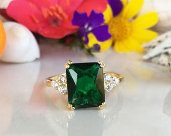 20% off-SALE!  Emerald Ring - May Birthstone - Gold Ring - Gemstone Band - Statement Ring - Engagement Ring - Rectangle Ring - Cocktail Ring