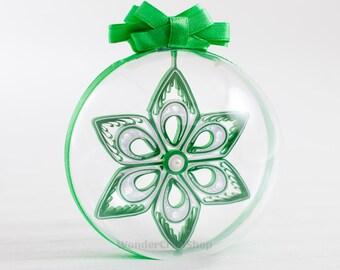 Christmas Budget Gift, Gift for all, Affordable Gifts, green christmas ornament, christmas tree decoration, clear ball, christmas ball