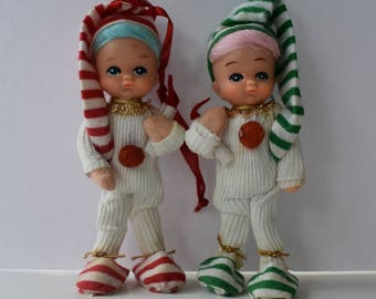 Ornaments Two Stocking Cap Children One in Red Stripes and One in Green Stripes for Christmas Tree or Decor