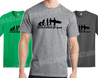 Evolution of man surfer surfing surfboard mens tshirt gift funny humor