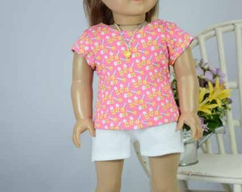 American Girl or 18 inch Doll TEE Top Blouse SHIRT in Candy Pink Flowers with Shorts Sandals Options with Surprise NECKLACE