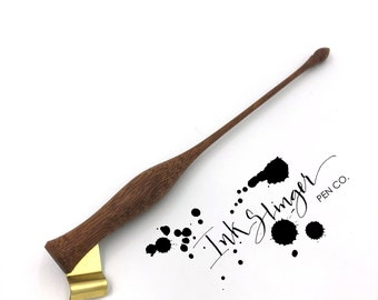 Low Writer Oblique Calligraphy Pen Hand Turned Out Of Honduras Mahogany