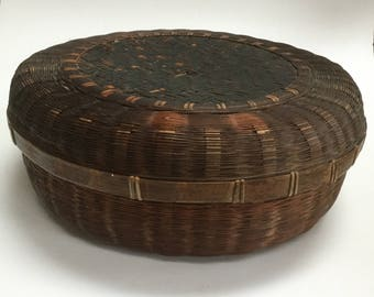 Vintage round wicker sewing basket