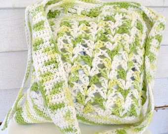 Lime Green Yellow White Cotton Shoulder Cross-body Tote Market Bag