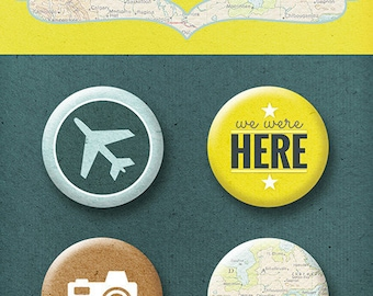 Flair buttons scrapbooking  TRAVELLING