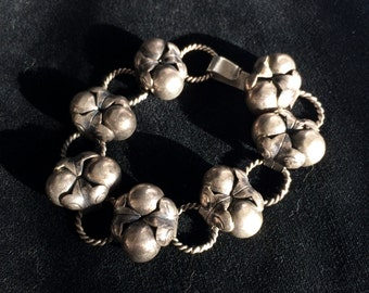 1930s Mexican Silver Orb and Leaf Bracelet