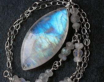 "Moonstone Necklace, Big Moonstone Jewelry, Rainbow Moonstone Pendant, Sterling Silver, June Birthstone, CircesHouse, ""Odin"""