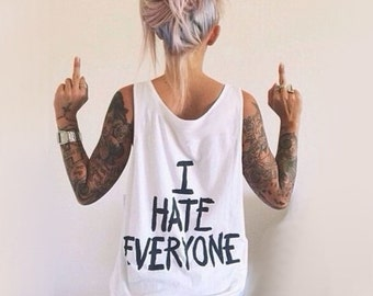 I HATE EVERYONE VEST - Unisex Oversized Tank Top - Made in London / Fast Delivery to the Usa , Canada , Australia & Europe !