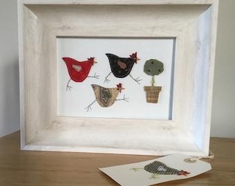 Handmade Vintage Textile Chicken Hen Framed Picture