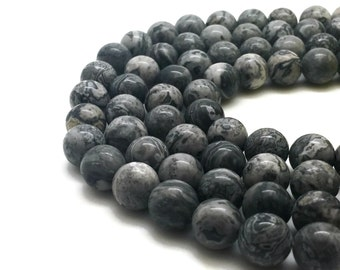 8mm Natural Scenery Jasper Beads Round 8mm Scenery Jasper 8mm Grey Jasper 8mm Grey Beads 8mm Grey Mala Fancy Jasper