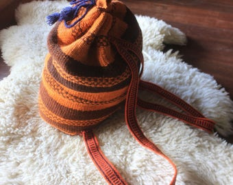90's amazing vintage Peruvian hand woven artisan backpack brown & orange stripes boho aztec festival