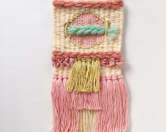 Woven Wall Hanging // pastel weaving with fringe and texture, nursery decor, vintage wool