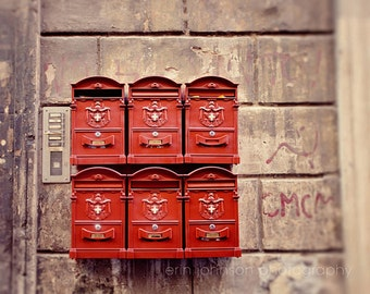 rome photography, italy photography, red decor, mailbox, roman mail, europe photograph, travel decor, Red Mailboxes R09