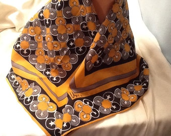 Vintage Vera Scarf 100% Polyester Fall Colors Orange Black Geometric Pattern