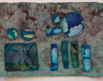 BATIK Fiber art turquoise blue teal black violet original textile appliqued embroidered primitive abstract wall art frameableOOAK