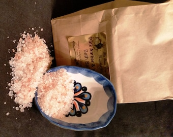 Pink Amber Vanilla Bath Salts --  12 ounces --  Mental Clarity, Balance Emotion, Cleansing, Purification, Relaxing, Sensual, Love