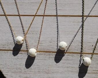 Minimalist Floating LAVA stone diffuser necklace, Diffuser Necklace, lava Necklace, gift for her