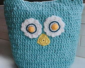 Crochet OWL PILLOW, Owl Pillow Cover, Sleepover Sack, Stuffed Animal Corral, Spend the Night, Pajama Sack, Crochet Owl, Knit Owl, Baby Owl
