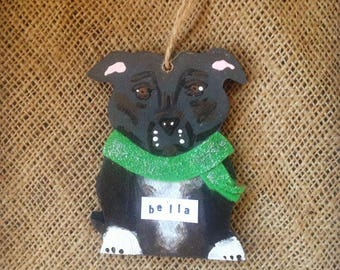 Staffordshire Bull Terrier Christmas Decoration! Cute Personalised Wooden Decoration. Staffie!