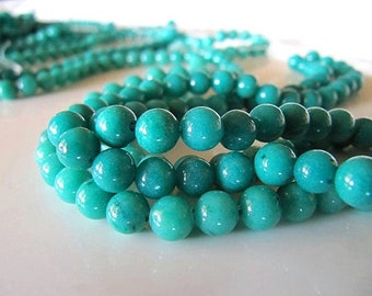 6mm Mashan Jade Beads in Blue Green, Round, Smooth, 70 Pcs, Full Strand, Dyed, Candy Jade, Mountain Jade, Dolomite Marble