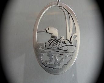 Loon art jewelry, animal totems , mother and baby art , handmade jewelry, reversible pendant, bird art jewelry, animal totem, loon art