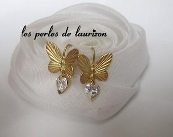 Gold Crystal butterfly earrings