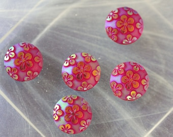 set of 2 pink flower cabochon scrapbooking rounds