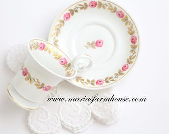 DEMITASSE CUP, Vintage Demitasse Cup & Saucer, High Handle by ANC Fabrique Royale, Limoges, France, Palais Royal Pattern, Replacement China