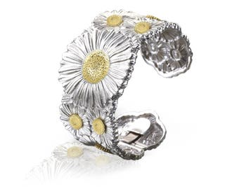 """Buccellati """"Blossoms Daisy"""" Cuff Bracelet, Sterling Silver with Gold Accents"""