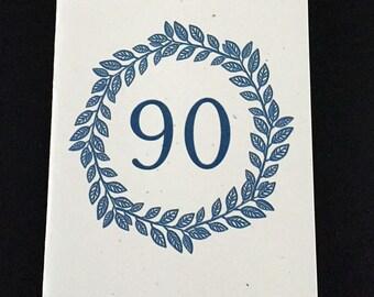 Masculine 90th Birthday Card, Laurel Wreath Birthday Card, Blue, Birthday Card for Dad, Card for brother, Card for Grandfather