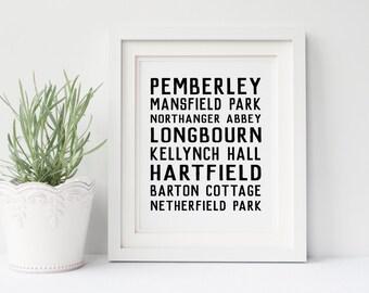 Jane Austen Places DIGITAL Poster, Digital Download, Pride and Prejudice, Pemberley, Mr Darcy, Sense and Sensibility, Emma, Persuasion