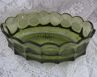 Vintage   Fostoria  Green Coin Glass  Console Oval Bowl