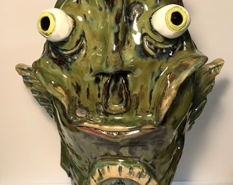 Fish Face Bust- Surreal Ceramic Sculpture - 2017 - One of a Kind