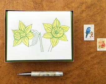 Daffodils, Boxed Set of 8 Letterpress Cards, Blank Inside