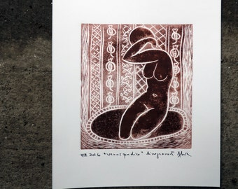 Artistic nude, erotic art, linocut, original print, contemporary art, sensual naked female body, art from Romania, unique gift, sexy Venus
