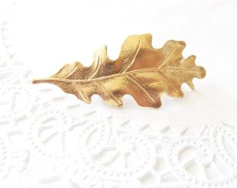 Gold Leaf Hair Barrette - Oak Leaf Hair Barrette- Woodland Hair Clip - Oak Leaf French Hair Barrette - Woodland Wedding Hair Clip - Bridal