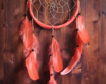 Dream Catcher -With Sparkling Golden Web, Red Frame and Orange Feathers - Boho Home Decor, Nursery Mobile