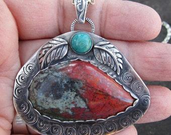 Sonora Sunrise Chrysocolla and Amazonite Sterling Silver Pendant